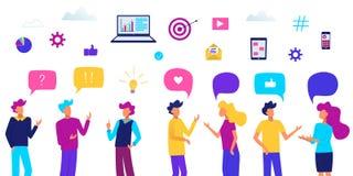 Povos com bolhas do discurso Conversa dos povos Ilustração do vetor do conceito de uma comunicação Executivos do grupo ilustração royalty free