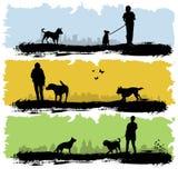Povos com cão Fotografia de Stock Royalty Free