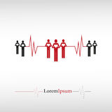 Povos com coração e cardiograma Imagem de Stock