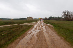 Povos com guarda-chuvas em uma estrada de terra na chuva Imagem de Stock