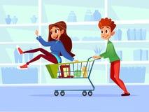 Povos com ilustração dos desenhos animados dos carrinhos de compras da família do homem e da mulher gravida com as crianças no su ilustração stock