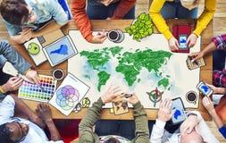 Povos com ilustrações globais da foto dos conceitos Fotografia de Stock