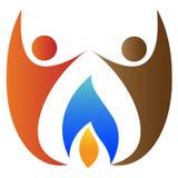Povos com logotipo da flama Foto de Stock Royalty Free