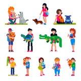 Povos com a mulher do vetor do animal de estimação ou o homem e as crianças que jogam ou que abraçam com ilustração animal do cão ilustração do vetor