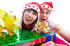 Povos com o presente para o Natal Foto de Stock