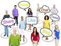 Povos com palavras temáticos dos trabalhos em rede sociais Fotografia de Stock Royalty Free