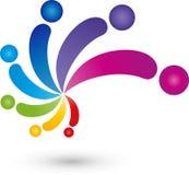 Povos como o arco-íris, as profissões e o logotipo do pintor ilustração stock