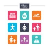 Povos, ícones da família Natação, sinais da pessoa Imagens de Stock