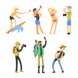 Povos criativos que tomam fotos Jogo da ilustração do vetor ilustração stock