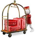 povos 3D brancos. Carro da bagagem do hotel Fotografia de Stock Royalty Free