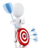 povos 3d brancos com dardos e alvo Sucesso no negócio Imagem de Stock