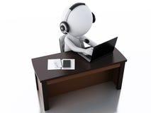 povos 3d brancos com fones de ouvido com microfone e portátil Fotos de Stock