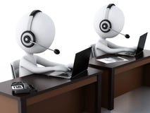 povos 3d brancos com fones de ouvido com microfone e portátil Fotografia de Stock Royalty Free