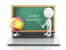 povos 3d brancos com portátil Aprenda o conceito espanhol Imagens de Stock Royalty Free