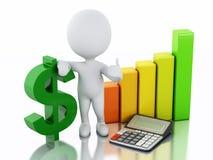povos 3d brancos com sinal do gráfico e de dólar da estatística de negócio ilustração royalty free