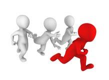 povos 3d brancos que correm com um líder vermelho Imagem de Stock Royalty Free