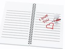 povos 3d brancos que escrevem eu te amo na página do caderno Imagem de Stock Royalty Free