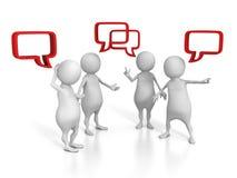 Povos 3d brancos que falam com bolhas do discurso Imagens de Stock