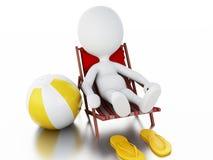 povos 3d brancos relaxado em uma cadeira de praia Conceito do verão Fotografia de Stock