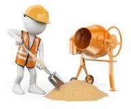povos 3D brancos. Trabalhador da construção com uma pá e um concret Foto de Stock Royalty Free