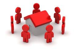 povos 3d com casa, conceito dos bens imobiliários Fotos de Stock Royalty Free
