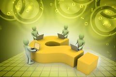 povos 3d com portátil e ponto de interrogação Imagem de Stock