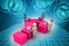 povos 3d com portátil e ponto de interrogação Imagem de Stock Royalty Free