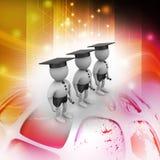 povos 3d com tampão da graduação Fotos de Stock Royalty Free