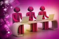 povos 3d em uma mesa moderna com portátil Fotografia de Stock Royalty Free