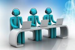 povos 3d em uma mesa moderna com portátil Imagens de Stock