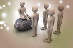 povos 3d na meditação Fotografia de Stock Royalty Free