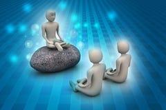 povos 3d na meditação Imagem de Stock Royalty Free