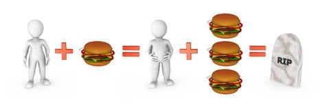 povos 3d pequenos com Hamburger e problema do fast food Foto de Stock
