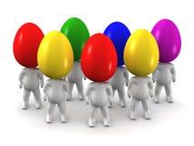 homens 3D com cabeças coloridas do ovo da páscoa Fotografia de Stock Royalty Free