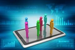 povos 3d que estão no tablet pc Imagem de Stock Royalty Free