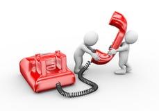 povos 3d que falam no telefone Imagens de Stock