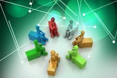 povos 3d que sentam-se nas setas Imagens de Stock Royalty Free