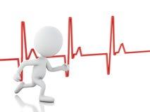 povos 3d running com pulsação do coração Conceito MÉDICO Fotos de Stock