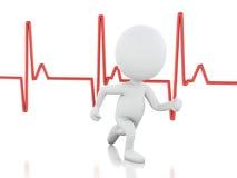 povos 3d running com pulsação do coração Conceito MÉDICO Foto de Stock Royalty Free