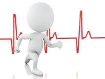 povos 3d running com pulsação do coração Conceito MÉDICO Imagens de Stock Royalty Free