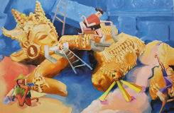 Povos da arte do conceito da pintura a óleo o processo de descoberta fotos de stock
