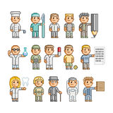Povos da arte do pixel de profissões diferentes Foto de Stock Royalty Free