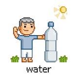 Povos da arte do pixel e garrafa da água Imagens de Stock Royalty Free
