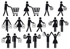 Povos da compra, jogo do ícone do vetor Imagem de Stock Royalty Free