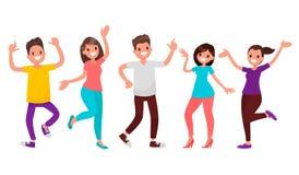 Povos da dança Os homens e as mulheres felizes transportam-se à música Vetor IL ilustração do vetor
