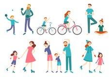 Povos da família do esporte Os pares com as crianças na aptidão malham, tênis da ciclagem e do jogo Ostenta o vetor das atividade ilustração stock