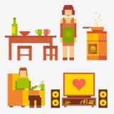 Povos da ilustração do pixel Ilustração do Vetor