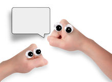 Povos da mão que falam com bolha dos desenhos animados Fotos de Stock