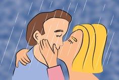 Povos da mulher e do homem dois que beijam no tempo da chuva e que guardam-se fotos de stock