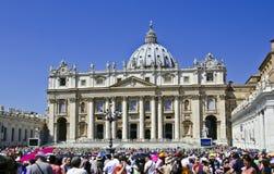 Povos da multidão - Cidade Estado do Vaticano Fotografia de Stock